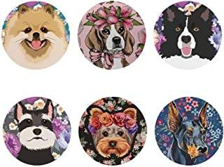 SANNOVO Floral Drinks Coaster Set for Office Home Border Collie Cute Dog Coasters Set 6 Pieces Round Glass Cup Mug Mat