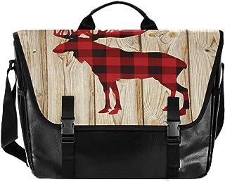 Bolso de lona para hombre y mujer, diseño de ciervo a cuadros