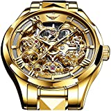 Relojes mecánicos automáticos de la marca suiza para los hombres 5ATM impermeable tungsteno acero inoxidable cuerda automática hombres relojes Movimiento japonés hombres relojes, Dorado (Gold Dial),