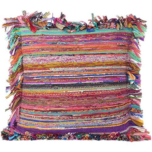 Eyes of India - Colorido Chindi Alfombra Sofá Funda Almohada Cojín Colores Decorativos Manta Bohemio Adorno India Boho Elegante Hecho a Mano Cubierta - Marron, 24 X 24 in. (60 X 60 cm)