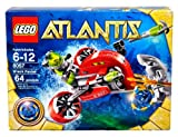 Lego Atlantis Series Set # 8057 - WRECK RAIDER with Flick Launching Harpoons, Blue Atlantis Treasure Key, Shark Warrior Minifigure with Trident and Deep-Sea Diver Minifigure (Total Pieces: 64)