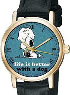 LIFE IS BETTER WITH A DOG, VINTAGE UFS PEANUTS SNOOPY ART 30 mm WRIST WATCH