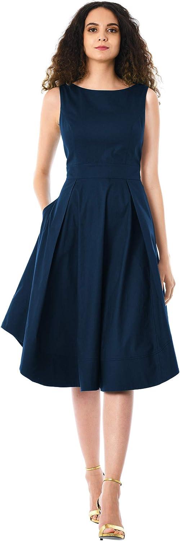 eShakti FX Curved Hem Cotton poplin Dress - Customizable Neckline, Sleeve & Length