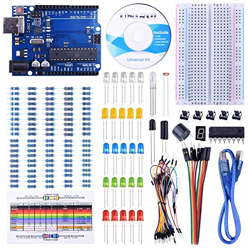 iduino Starter Kit competible with Arduino IDE Projects, Includes Free Tutorials, Board, Breadboard, Sensor, USB Cable, 1 Digit 7-Segment Display, Resistors, Jumper Wires and Dupont Wires