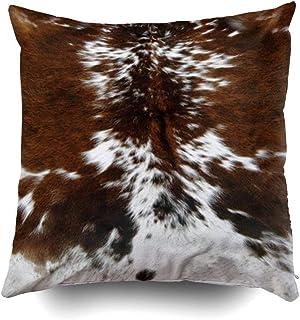 BorisMotley tri color marrón cuero de vaca impresión lumbar Cojines casopara sofá hogar decoración almohada regalo ideas hogar almohada con cremallera fundas de almohada 18x18 pulgadas