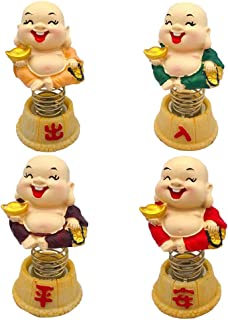 Amosfun Solar Powered Dancing Swing Monk Dolls Car Ornaments Head-Shaking Dashboard Car Dancing Toy Decor 4pcs