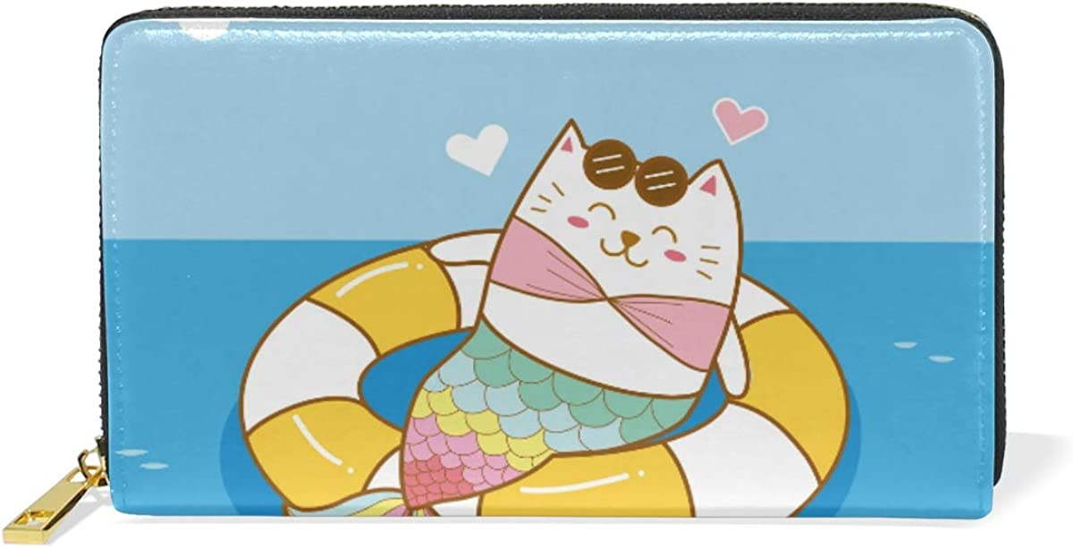 Cat Mermaid Swim Ring Wallet Real Purs Zipper Challenge the lowest price of Japan Store Leather Phone Coin