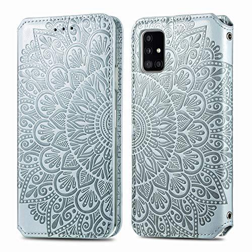 Trugox Funda Cartera para Samsung A71 de Piel con Tapa Tarjetero Soporte Plegable Antigolpes Flor Cover Case Carcasa Cuero para Samsung Galaxy A71 - TRSDA140238 Gris