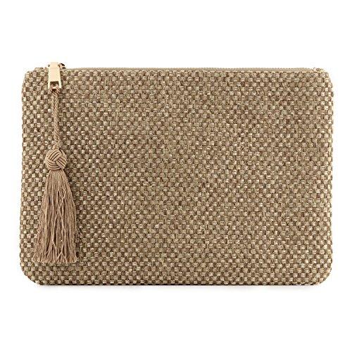 Otto Angelino Pochette di Design da Donna in tessuto con Nappina sulla Zip - Perfetta per organizzare la borsa, per trucchi, chiavi, specchietto e carte di credito, come pochette per la sera