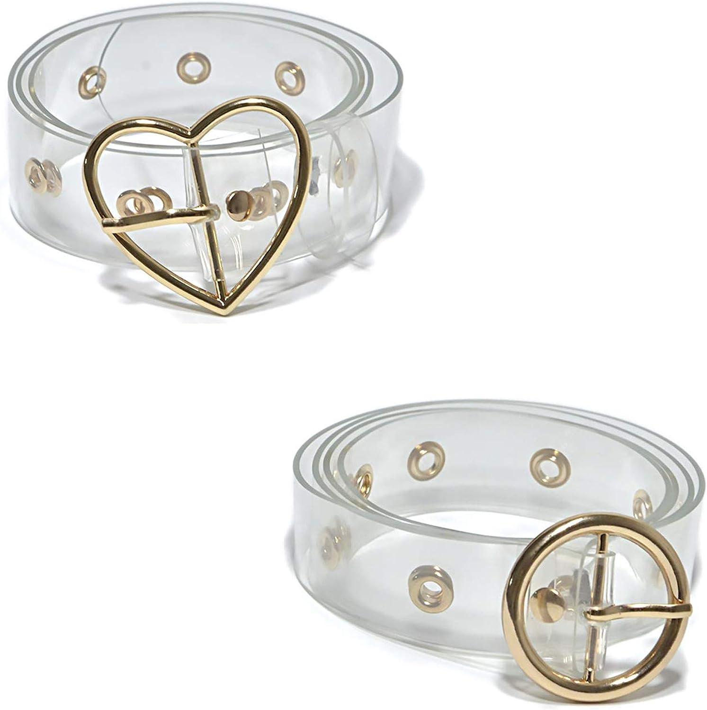 2 Pcs Fashion Transparent Clear Waist Belt Waistband for Women Girls Jeans Dress Shorts Pants(A)