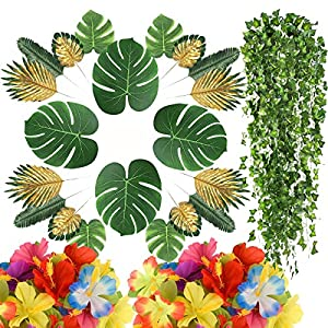 58 PCS Artificial Tropical Palm Leaves Faux Gold Monstera Green Leaf Hibiscus Flowers Ivy Leaf Plants for for Jungle Beach Birthday Theme Party,Wedding,Hawaiian Luau Party Decoration – 9 Kinds