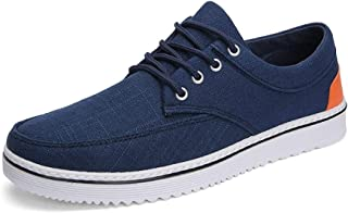 Ping.Feng Fashion Men Breathable Casual Board Shoes For Soft Comfortable Fabric Outdoor Running Sneakers Anti-slip Lace Up Round Toe Gym Sneakers (Color : Blue, Size : 43 EU)