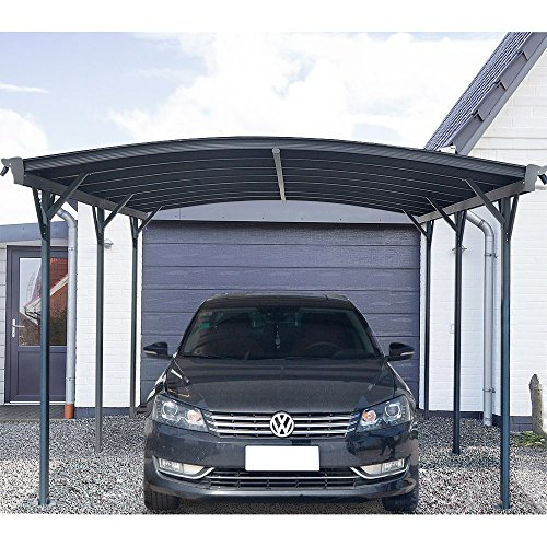 *Home Deluxe – Design Carport anthrazit – Falo – Maße: 505 x 300 x 226/240 cm – komplett inkl. Montagematerial*