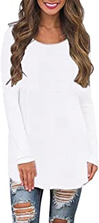 Women's Long Sleeve Shirts Blouses Crew Neck Solid Plus Size Casual Tunic Tops Sweatshirts