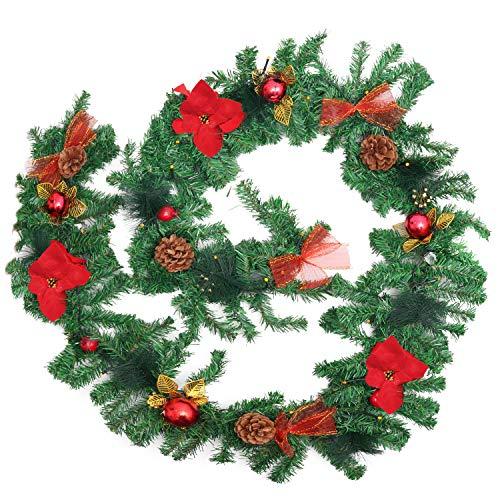 Belle Vous Guirnalda Navidad 2,7M Guirnalda Verde Navidad Preiluminada 40 Luces LED Conos de Pino, Bolas de Navidad Lazos - Guirnalda Navidad Chimenea, Escaleras, Pasamano, Decorar Interior y Exterior