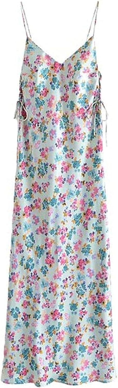 NIUQI Women Floral Print Summer lowest price Spaghetti Strap Backless Dress Popular brand L