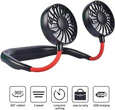 OKA Portable Fan USB Rechargeable Neckband Mini Fan Hands-Free Neckband Personal Fan, Headphone Design Wearable Portable 360 Degree Free Rotation for Summer Gift (3 Speeds, 4-12Working Hours) (Black)