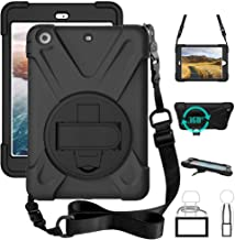 iPad Mini 1/2/3 Case, Rugged Protective Case Carrying Defender Soft Silicone Case with Shoulder Strap, Handle Hand Grip & 360 Rotating Stand, Heavy Duty Tablet Cover for Kids Boys Girls Student Black
