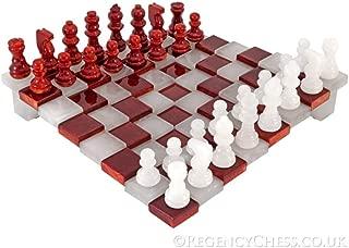 3 Dimensiones Rojo y Blanco Alabastro Juego De Ajedrez 24.1cm