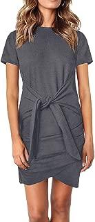 ZKESS Womens Casual Solid Half Short Sleeve Tie Waist Knot Front Elegant Bodycon Pencil Dress Mini Dress