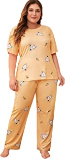 SheIn Women's 2 Piece Plus Size Cartoon Print Short Sleeve Pajamas Set