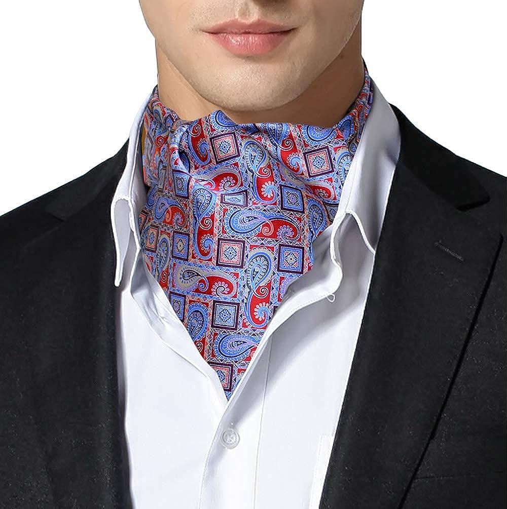 Remo Sartori Made in Italy Men's Light Blue Self Cravat Ascot Tie Neckerchief, Silk