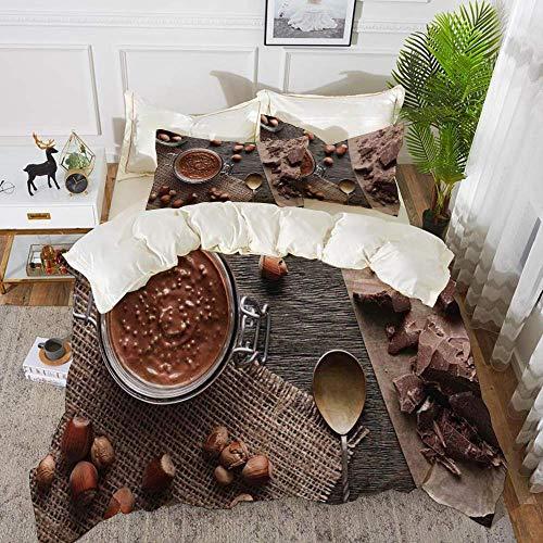 Literie - Ensemble de housse de couette, Moderne, Naturel Chocolat Chocolat Crème Image Style rustique Image Café Home Art Design Bois, Hypoallergénique Housse de couette en microfibre avec 2 taies d'