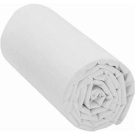 Drap Housse 100% Coton (Blanc, 160x200 cm) Grand Bonnet 30 cm 57 Fils