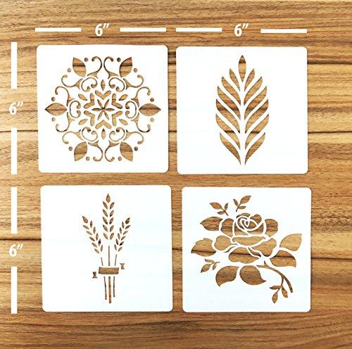 Güden Pack of 4 European Artisan Bread Stencils (StencilGroup1) 6' by 6''