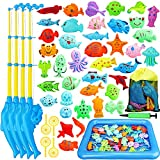 TOY Life Magnetic Fishing Game for Toddlers with 4 Toy Fishing Pole, Toy Fish, Inflatable Play Area - Fishing Bath Toy, Water Toys for Kids, Pool Fishing Games- Outdoor Fishing Toy for 3 4 5 Toddlers