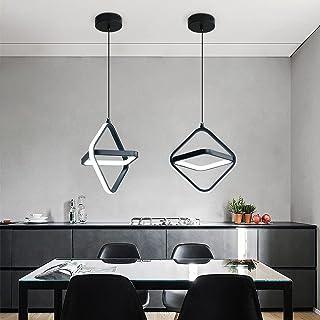Lampe à suspension, lustre créatif métal rétro cube pour salle à manger, salon (noir)