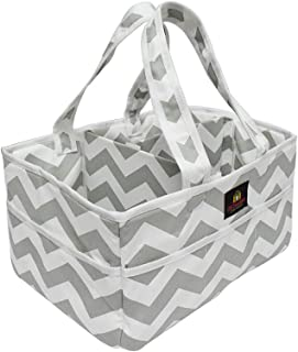 Baby Diaper Caddy Organizer and Nursery Tote with Solid Bottom and Dividers. Extra Strength Velcro Fasteners. Great Diaper Bag for a Baby Shower Gift. (grey)