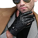 Borgasets Men's Nappa Leather Thinsulate Quilted Winter Checkered Gloves Medium Black