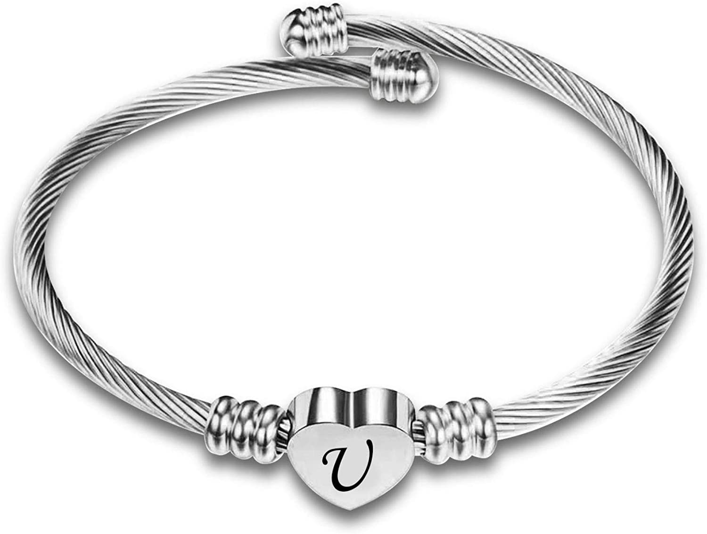 KunBead Women Girls Initial Letter Bracelets Love Heart Bangle Expandable Cuff Bracelet Birthday Gift