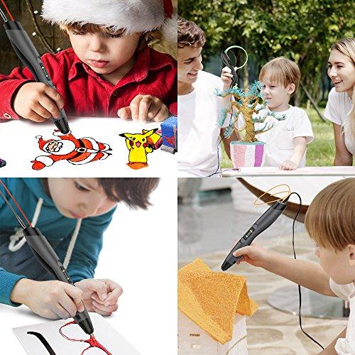 3D Stift, Aerb 3D Pen Stift mit 1,75mm PLA/ABS Filament, 8 Einstellbare Geschwindigkeit mit LCD-Bildschirm 3D Printing Pen für Kinder Erwachsene, Bestes Geschenk für DIY, Kritzelei, Zeichnung und Kunst & Handgefertigte Werke - 5
