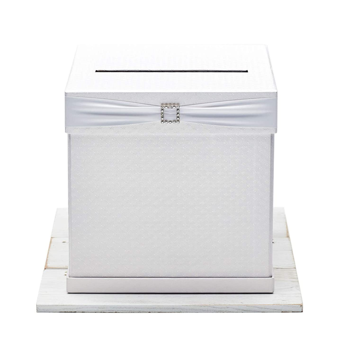 Hayley Cherie - Gift Card Box with Rhinestone Slider & 7 Ribbon Colors - White Textured Finish - Large Size 10