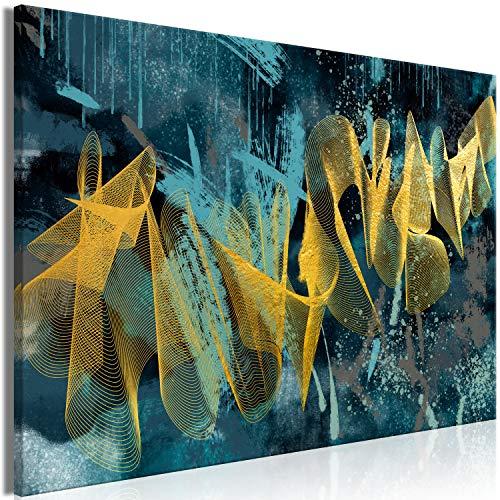 murando Impression sur Toile intissee Abstrait 120x80 cm Tableau Tableaux Decoration Murale Photo Image Artistique Photographie Graphique 1 Piece Textur Bleu Or n-A-1231-b-a