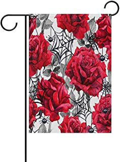 Staroapr Halloween Red Roses Black Spiders Web Garden Flag Banner 12
