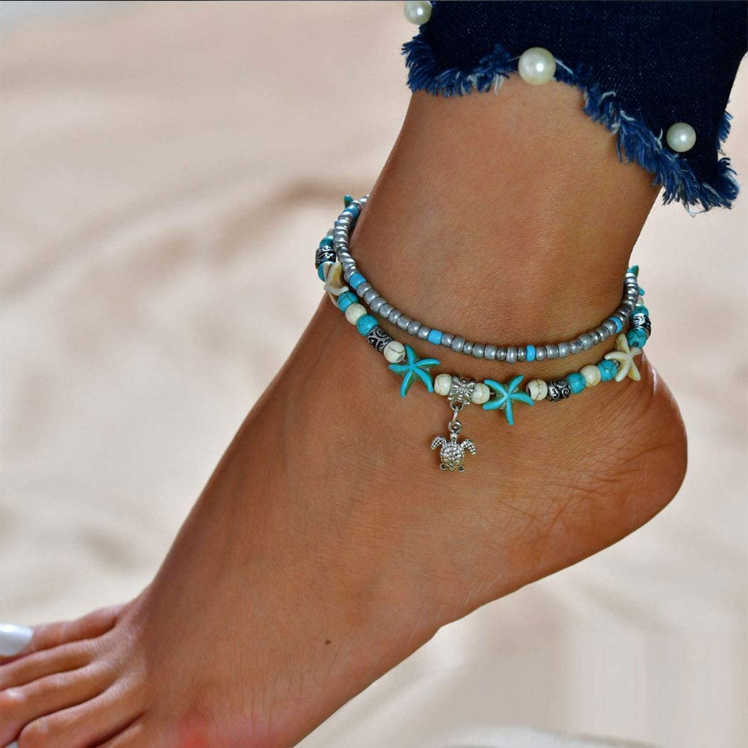 Gortin Turtle Anklets Max 56% OFF Layered Boho Star Bracelet Directly managed store Ankle Turquoise