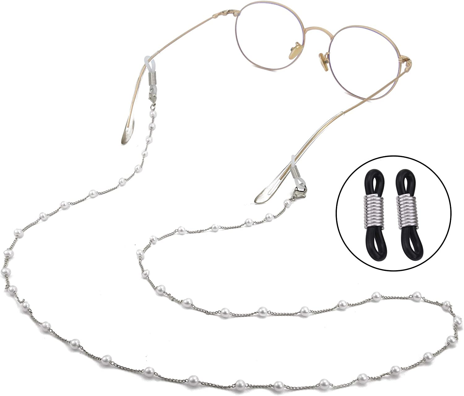 Over item handling TEAMER White Simulated Pearl Beaded Eyeglass Stra Special sale item Chain Sunglass