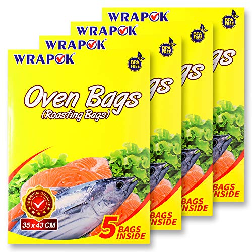 WRAPOK Oven Cooking Turkey Bags Medium Size Ribs Baking Roasting Bags No Mess For Chicken Meat Ham Poultry Fish Seafood Vegetable - 20 Bags (14 x 17 Inch)