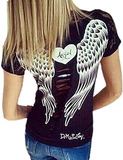 Camiseta con Estampado de alas de ángel en la Espalda para Mujer Tops Sueltos de Manga Corta Casual Estilo Biker