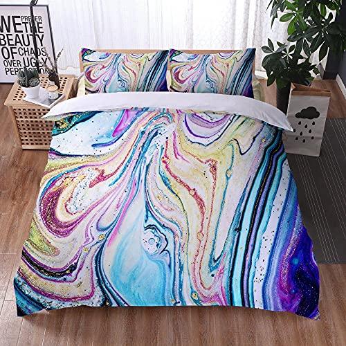 Bedclothes-Blanket Juego de sabanas Infantiles Cama 90,Ropa de Cama Juego de Tres Piezas de Almohadas 3D Impresión Digital de mármol Colorido-4_245x210cm