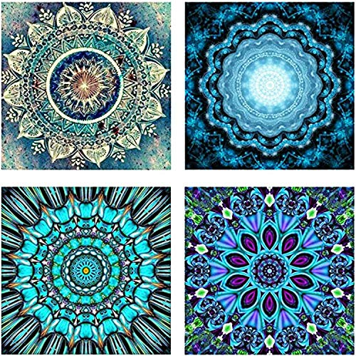 4 Pack 5D DIY Diamond Painting Kit Full Drill Paint Crystal Rhinestone Diamond Embroidery Painting Pictures Decorating Cabinet Table Stickers for Home Wall Decor (Mandala Flower - Blue Blooming)