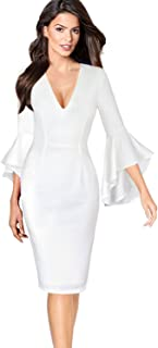 VFSHOW Womens Sexy V Neck Ruffle Bell Sleeve Cocktail Party Sheath Dress