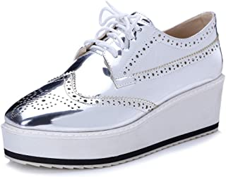 Women's Patent Wingtip Oxfords PU Leather Lace Up Platform Wedge Brogues Sneakers Shoes