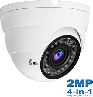 Anpviz 2MP CCTV Camera HD 1080P 4-in-1 (TVI/AHD/CVI/960H CVBS) Security Dome Camera, 2.8-12mm Varifocal Lens Analog Video Surveillance, Wide Angle Viewing Day & Night Indoor Outdoor Waterproof (White)