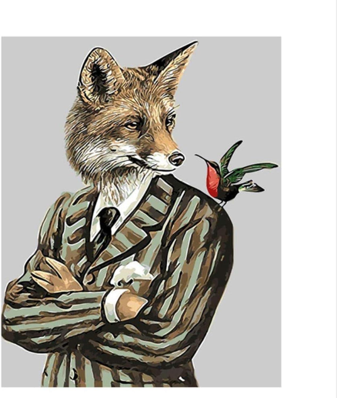 CZYYOU DIY Digital Malen Nach Zahlen Der Fuchs Gentleman Ölgemälde Wandgemälde Kits Färbung Wandkunst Bild Geschenk - Mit Rahmen - 50x60cm B07PP25Z5X | Maßstab ist der Grundstein, Qualität ist Säulenbalken, Preis ist Leiter