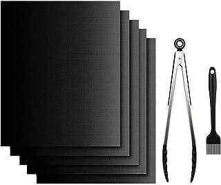 CHUER Estera Barbacoa(Set de 5), Estera para Parrilla de Barbacoa Extra Grueso (40x33cm), Antiadherente, Reutilizable, Fácil de Limpiar, con 1 Pinza y Cepillo Silicona para Hornear, Grill, Barbacoa
