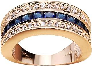 Elegant Unisex Shiny Rhinestone Inlaid Bridal Engagement Finger Ring Jewelry - Blue US 9